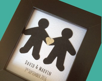 Personalised Gay Couples Gift:  Gay anniversary Gift, Gay marriage Gift, Gay Couples Celebration, Gay Valentines, gay for him, Valentine's