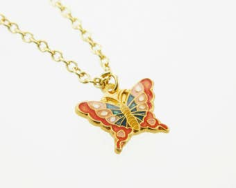 Red Vintage Butterfly Charm Necklace