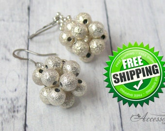 Silver Winter earrings Snowflake Holiday jewelry Unique Nice Christmas outfit Snow jewelry gift idea Geometric Minimalist earrings jewelry