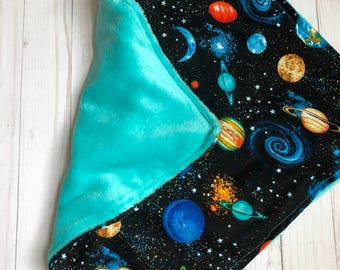 Planets Baby Blanket / crib bedding / nursery bedding / space and planets / saturn / jupiter / minky blanket / for toddler / for baby / gift