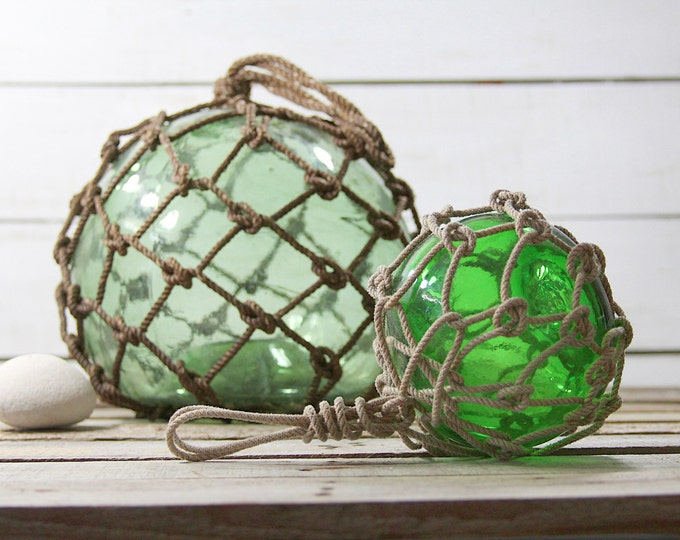 Beach Decor SET Big Light Greenish and Small Green Fishing Float by SEASTYLE