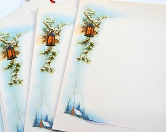 Vintage Christmas Stationery Paper - Snowy Cabin and Lantern - 10 Sheets 1950s