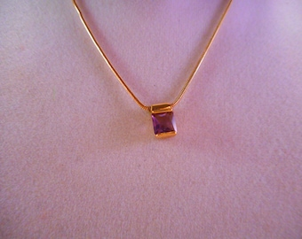 Monet Gold-Tone Snake Chain Necklace with Purple Birthstone Pendant 16 inch