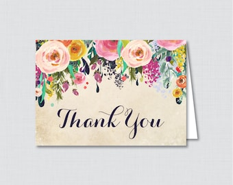 Printable Floral Thank You Card - Printable Instant Download - Flower Baby Shower Thank You Card, Floral Thank You Card - 0025-A