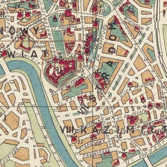 Krakow map Vintage city map Stara mapa Krakowa Fine