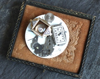 Antique Steampunk Pocket Watch part brooch pin vintage victorian steampunk jewelry up cycled assemblage watch face  gothic edwardian