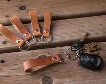 Italian Leather Keychain | Handmade in the USA | Leather Key Fob | Key Chain Holder | Trekker Leather Co
