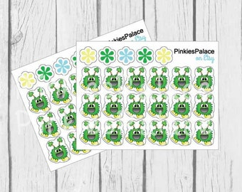 St Patrick's Day Planner Stickers Green Monster Stickers Clover PS459