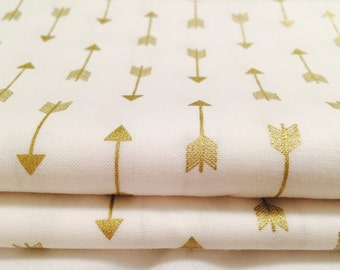 Gold Arrow Fabric, Metallic Gold Geometric Pattern For Baby Nursery, Wedding, Quilting and Home Decor by the Yard