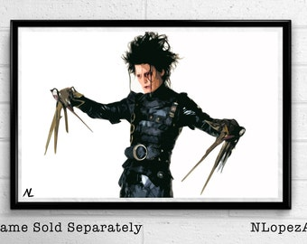 Edward Scissorhands Illustration, Tim Burton Film, Johnny Depp Movie, Comedy Pop Art, Horror Home Decor, Poster Print Canvas