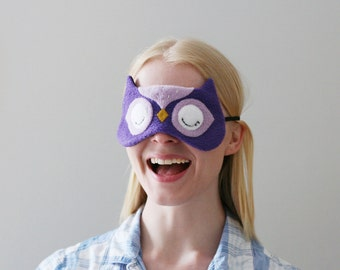 Purple Owl Sleep Mask, Animal Sleep Mask, Cute Owl Accessory, Woodland Eyewear, Gift for Her