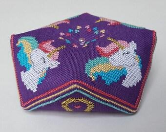 Rainbow Unicorn Biscornu cross stitch - pattern only