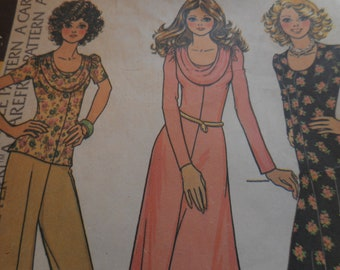 Vintage 1970's McCall's 4236 Dress or Top Size 10 Bust 32.5