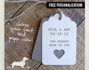 Ivory Heart. Personalized Gift Tags (Set of 12) -- (Simple, Bridal Shower, Wedding Favor, Free Personalization, Custom, Choose Your Color)
