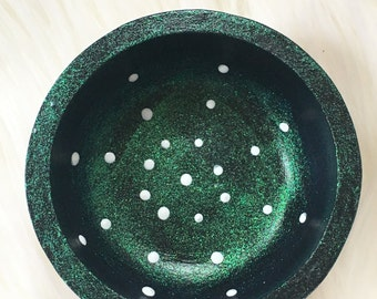 Galaxy Dotted hand painted wooden mini trinket bowl rts