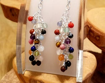 Candy Dots 18 gemstone long surgical steel french hook earrings You'll Eat 'Em Up!