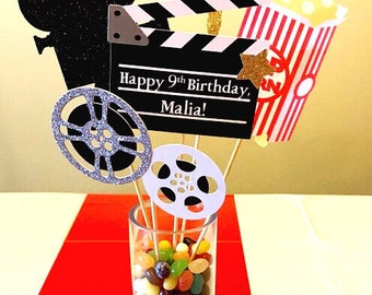 Movie Night Centerpiece Sticks - Set of 5 | Movie Night Decorations | Hollywood Theme | Table Decorations