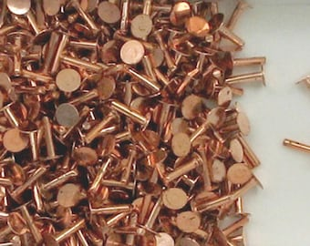 """Solid Copper  1/4"""" Rivets, Choice of Lot Size & Price"""