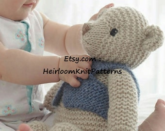 Toy Knitting Pattern Classic Teddy Bear in Chunky/ Bulky yarn Baby Teddybear Pattern Stuffed Soft Toy Pattern Instant Download PDF - 434