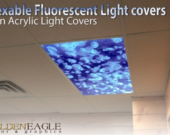 office ceiling light covers. Flexible Fluorescent Light Cover Films Skylight Ceiling Office Medical Dental Jellyfish Underwater Sealife Covers