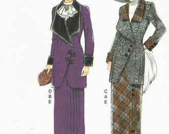Retro 1912 Womens Jacket, Bib and Skirt Butterick Sewing Pattern B6108 Size 14 16 18 20 22 Bust 36 to 44 UnCut Downton Abbey