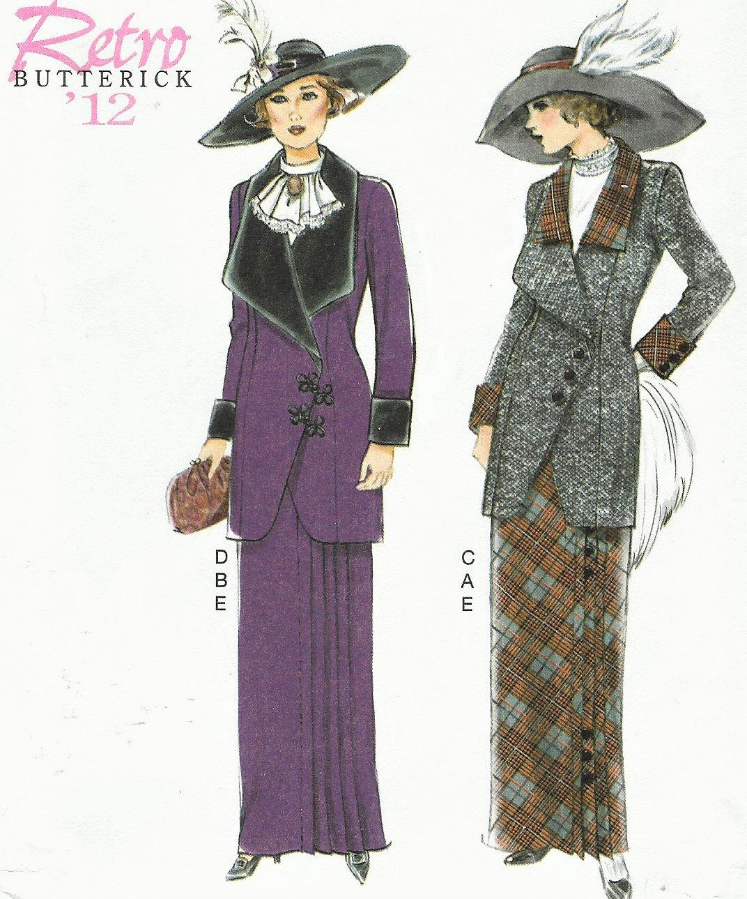 Retro-1912 Damenjacke Lätzchen und Rock Butt Nähen Muster