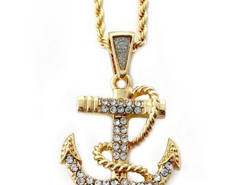 """Iced Out Anchor Pendant Necklace with 24"""" Rope Chain"""