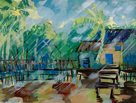 """MEKONG STORM 20x16"""" gouache on paper, live painting, Mekong Delta (Cần Thơ Province), original by Nguyen Ly Phuong Ngoc"""
