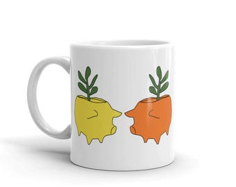 Pig with Succulents Coffee Mug Ceramic Cups Gardening Gift for Gardener Best Friend Present Mothers Day Birthday Coworker Housewarming
