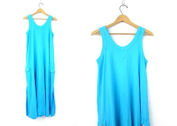 1980s Long Aqua Blue dress Tank Dress vintage sundress womens Sleeveless Cotton Beach Dress with Pockets Size Small