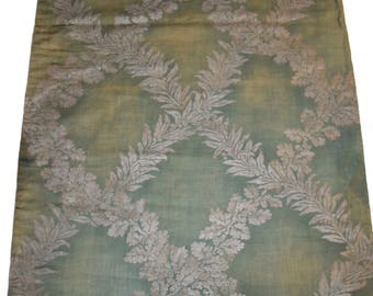 "Fortuny 1920's Cotton Fabric in his ""Crosoni"" Pattern on a Sage Green Ground"