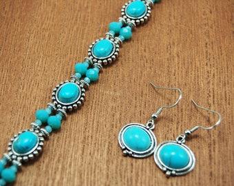 Southwest Turquoise Bracelet and Earring Set