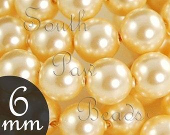 6mm Gold Swarovski pearl beads 6mm round beads style 5810 (25)