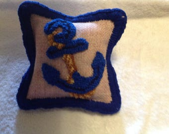 Rug Hooked Anchor Sachet - Filled with Lavender buds - 6 X 6 inches