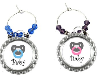 Baby Shower Wine Charms - Baby Shower Party Favors- 5 Pack
