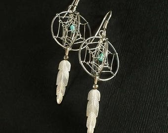 DREAM CATCHER Sterling Earrings, Native American Turquoise EARRINGS, Vintage Navajo Feather Earrings, Long Dangle Earrings, Gift for Women