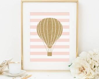 Hot Air Balloon Printable Hot Air Balloon Wall Art Pink and Gold Nursery Decor Girl Nursery Decor Kid's Room Decor Playroom Wall Art Glitter