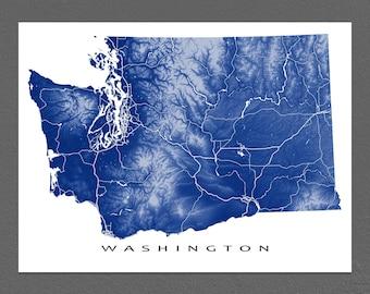 Washington Map, Washington State Art Print, USA, Seattle
