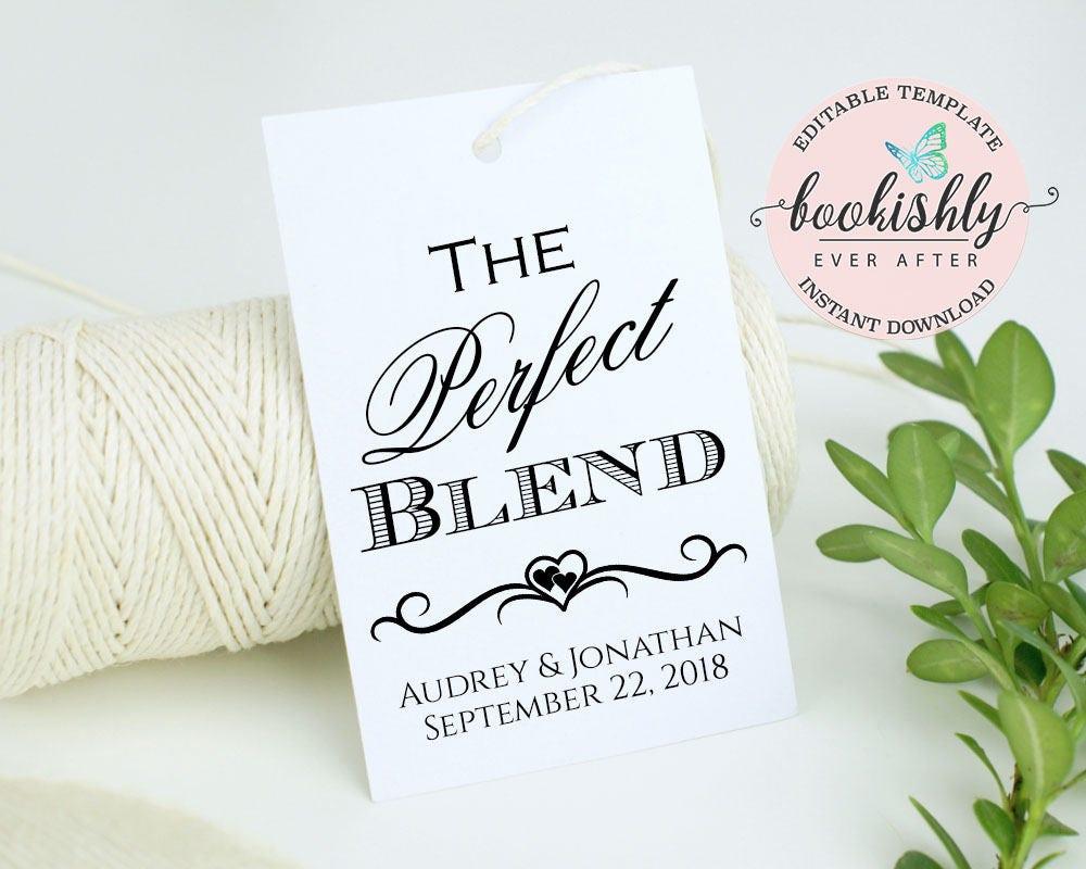The Perfect Blend Tag PRINTABLE Wedding Favor Tag Coffee