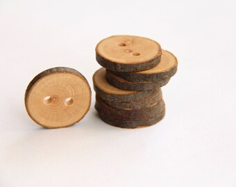 8 small beech buttons - an inch