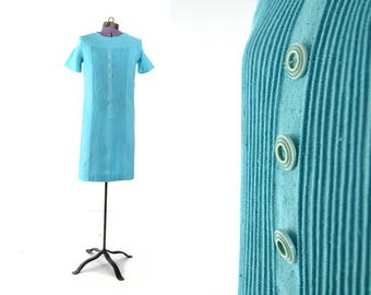 1960s Vintage Dress, blue 60s vintage Dress, 60s dress, 1960s dress, Womens Dress, Extra Small Dress, XS Dress, Linen Dress
