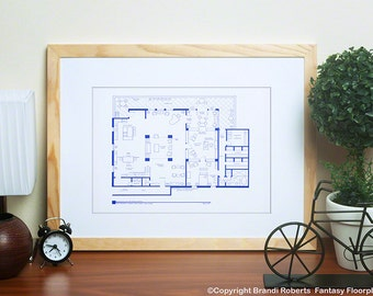 Richard Castle Apartment Blueprint - TV Show Floor Plan - Home of Rick Castle & Kate Beckett - Gift for Architects - Gift for Engineers