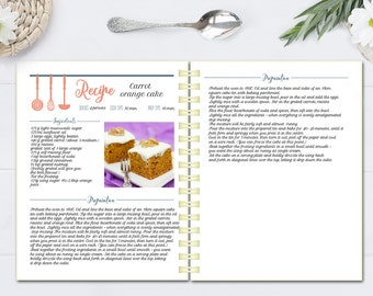 Editable cook book, Recipe template, recipe pages pattern, blank recipe book, instant download doc file, Letter size