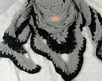 Crochet silver and black virus festival shawl scarf