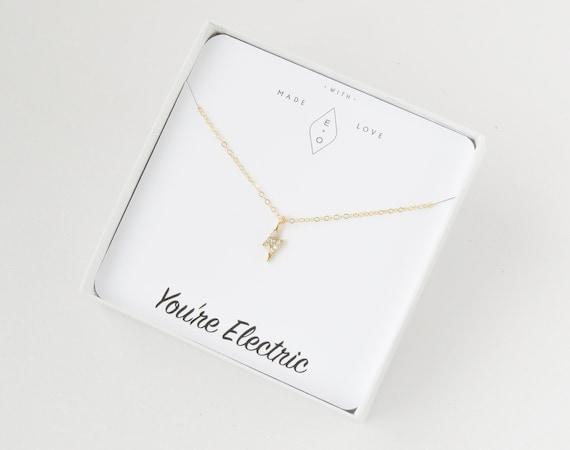 Lightning Bolt Necklace | Gold Bolt Necklace | Lightning Necklace Gold | Dainty Necklace | Lightning Bolt Charm | Delicate Necklace