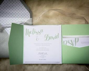 Mint Gray Wedding Invite Set