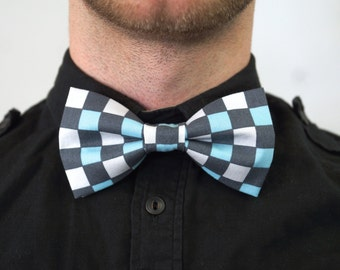 Handmade Blue, Gray, and White Checkered Print Bow Tie