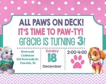 Paw Patrol Birthday Invitation- Printable