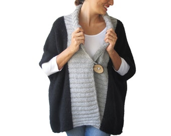 Black - Light Gray Mohair Cardigan with Big Coconut Button by Afra Plus Size Over Size