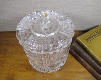 Vintage Bleikristall Cylindrical Cut Glass Crystal Candy Dish With Lid - Made in West Germany